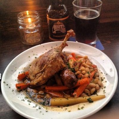 Cassoulet: duck confit, merguez sausage, sliced slab bacon, and a ...