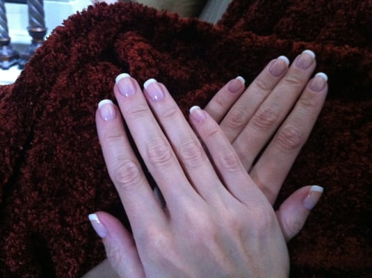 Biosculpt Gel French Manicure (White #1) over real nails (no tips