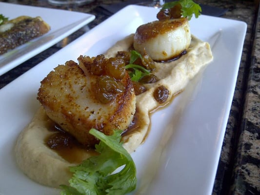 Seared Sea Scallops Smoked Cauliflower Fondue, Grilled Corn, Sweet ...