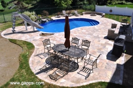 A Beautiful Pool Patio Made Of Scabbos Travertine Pavers In Ronkonkoma New York 11779 These