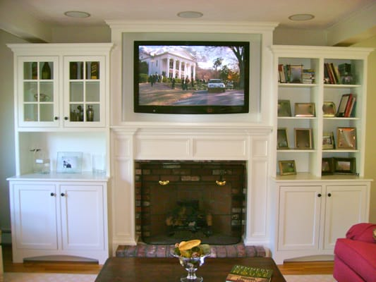 Tv Mounted Above Fireplace In Custom Cabinet With In Ceiling Speakers Yelp