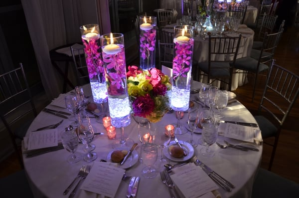 Centerpiece pin spot lighting for wedding at The Battery Gardens