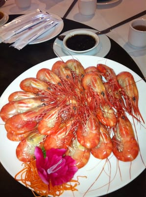 Boiled live prawns with premium soy sauce