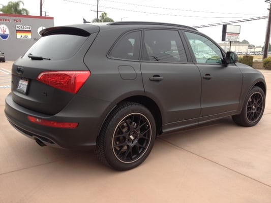 Another angle of the 2013 audi q5 vinyl wrapped in matte for Mercedes benz of calabasas staff
