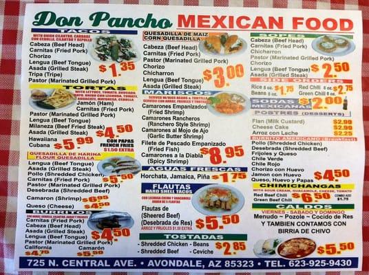 Don Pancho Mexican Restaurant Menu