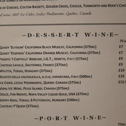 Terrific list of dessert wines