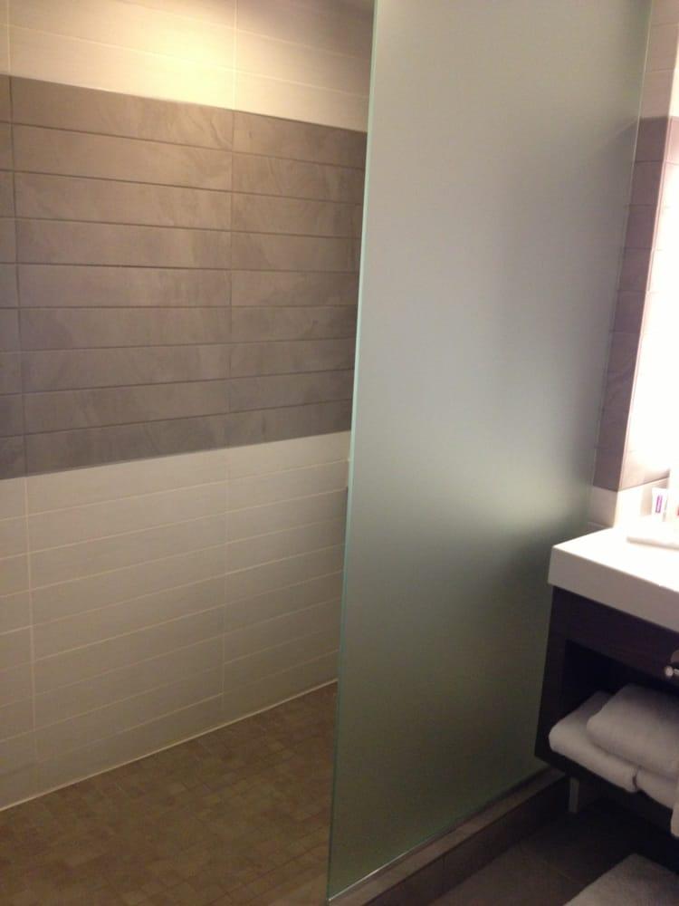 Walk in shower - no door  Yelp