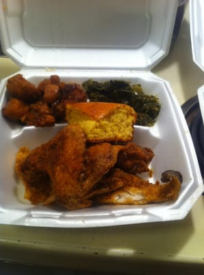 Fried fish chicken yams greens and cornbread yelp for Happy fish and chicken