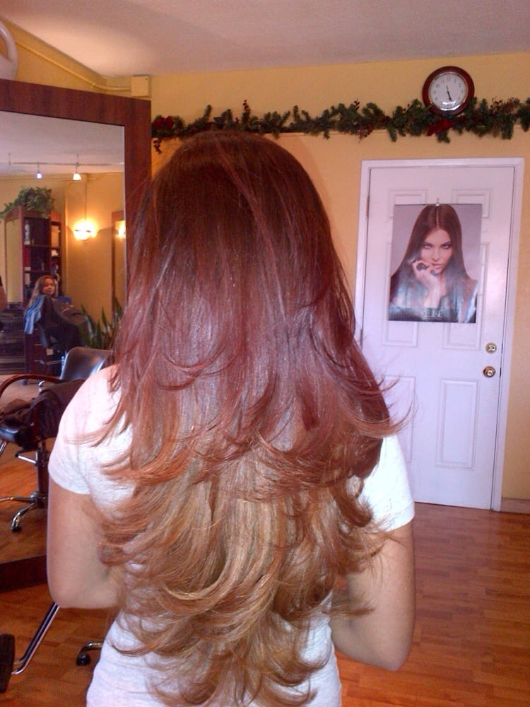 Long Layered Ombr 233 With Red Copper And Blonde Yelp