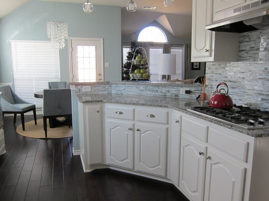 Glass Tile Kitchen Backsplash And Handscraped Engineered Hardwood