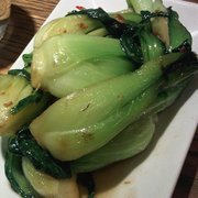Pak choi: Thai garlic, red chilli, yellow bean sauce