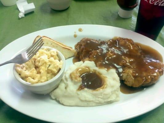 Chicken fried steak w/ brown gravy... cream gravy is available also ...