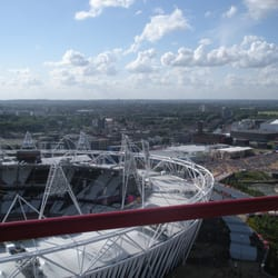 View of the Olympic Stadium & the crowds from The Orbit