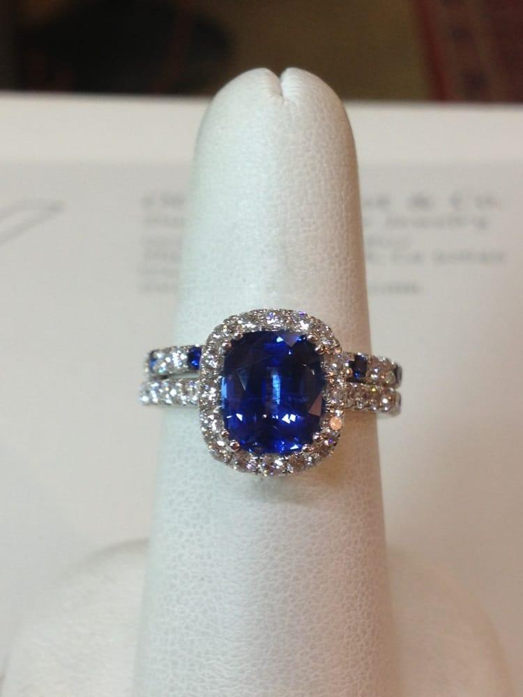 The Finished Platnum Sapphire And Diamond Wedding Set Yelp