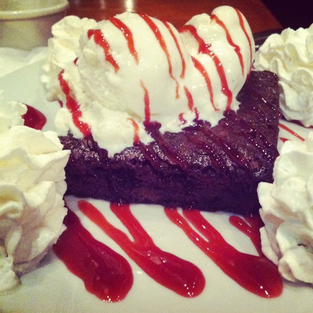 Instagram dessert shot: raspberry brownie vanilla ice ...