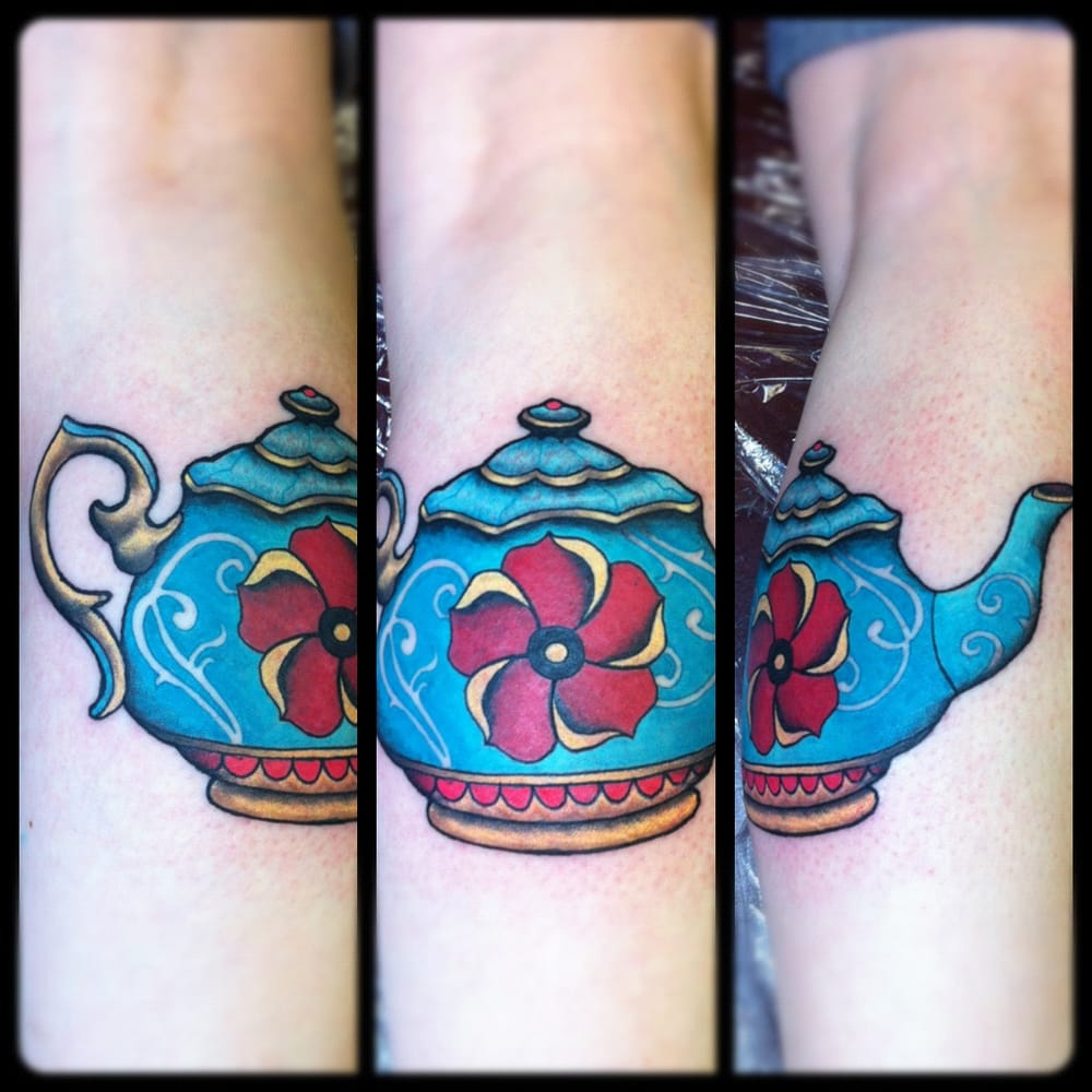 traditional teapot tattoo design done by steve wade at all seeing eye tattoo lounge in bradford. Black Bedroom Furniture Sets. Home Design Ideas