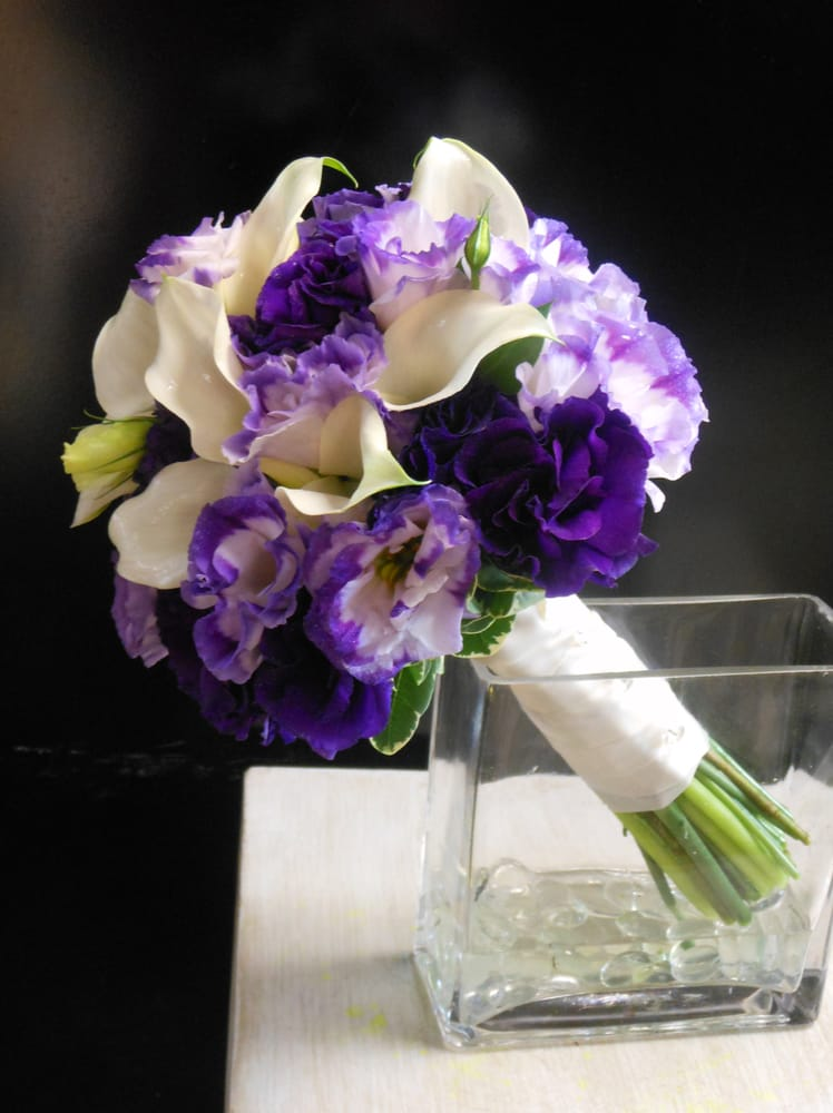 Wedding Bouquets With Lisianthus : Picasso miniature calla lilies and lisianthus highlight this bridal bouquet yelp