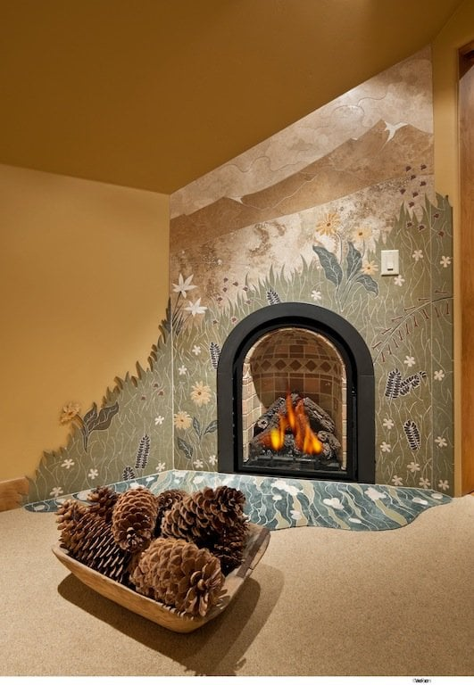 Custom Tile Mosaic Fireplace | Yelp