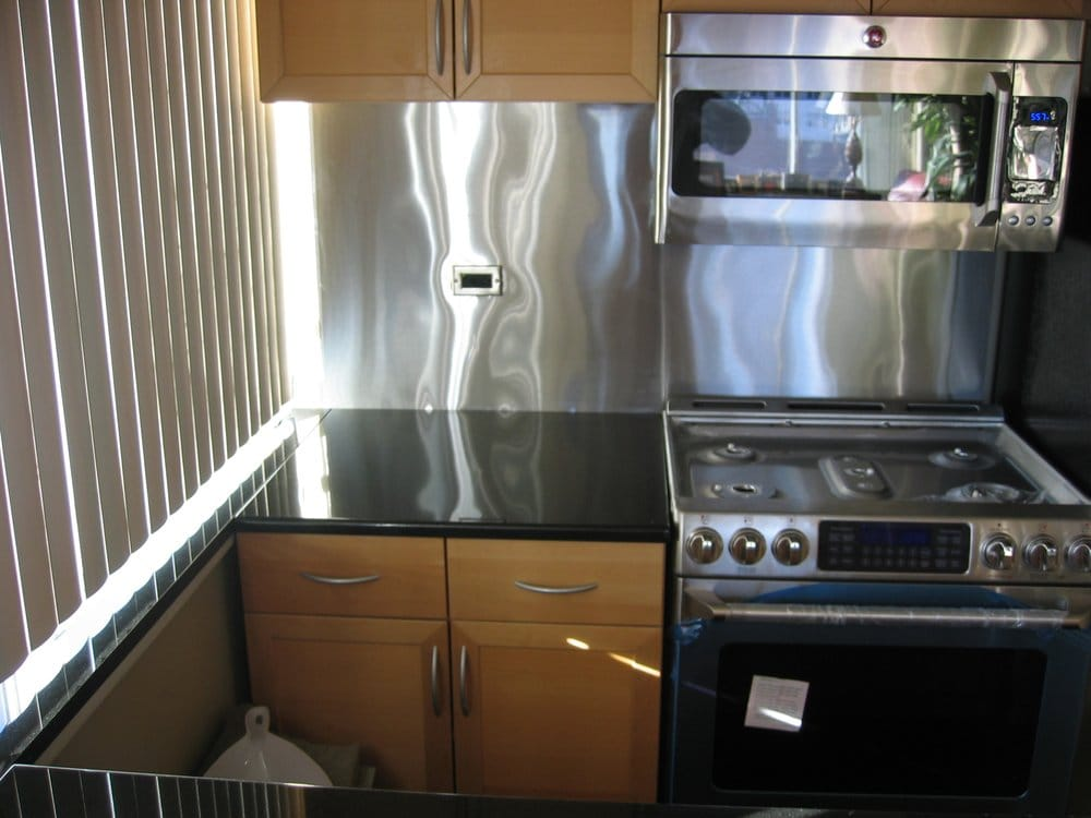 New granite countertops stainless steel backsplash and for Bathroom appliances near me