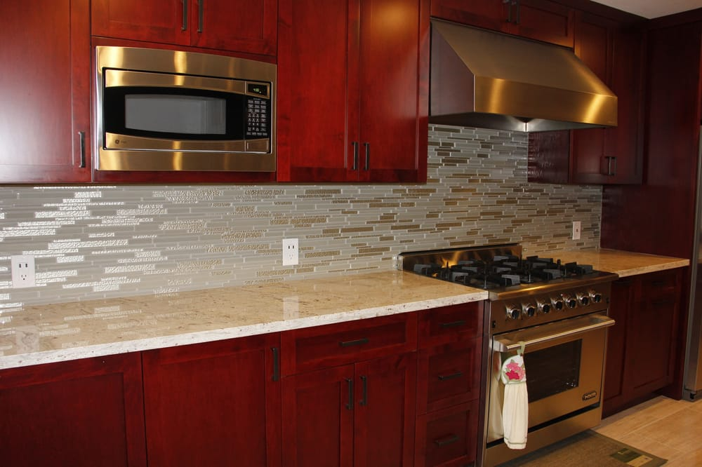 Kitchen granite countertops and glass tile backsplash Yelp