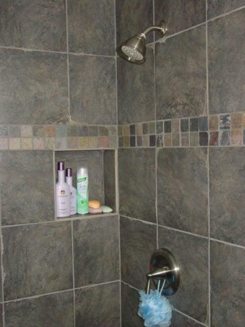 Custom Recessed Shower Shelf Amp Decorative Tile Band Yelp