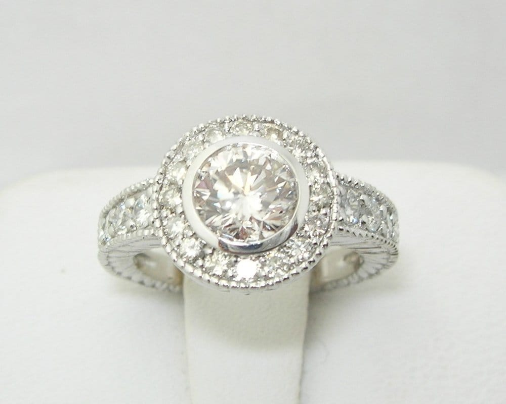 Round diamond antique style engagement or right hand ring