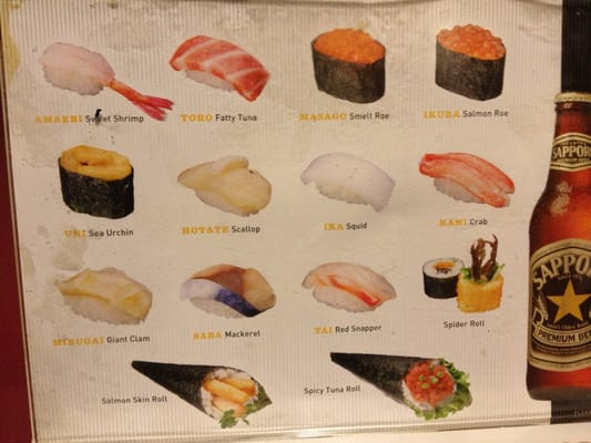 Helpful sushi name guide yelp for Sushi fish names