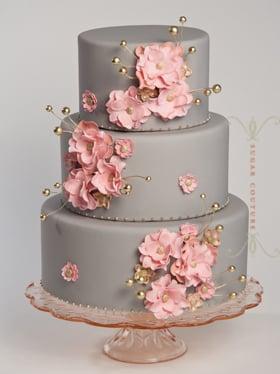 Pink And Gray Elegant Wedding Cake