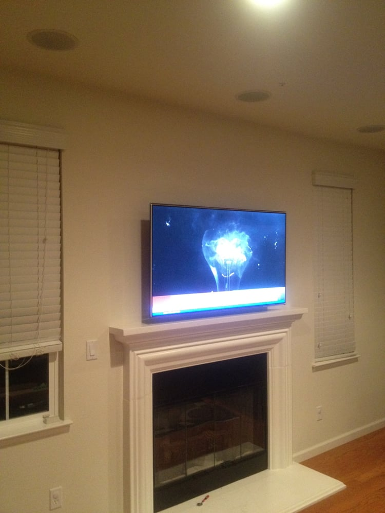TV Wall Mount Above A Fireplace 5 1 In Ceiling Speakers Yelp
