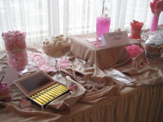 Pink White Brown wedding candy table
