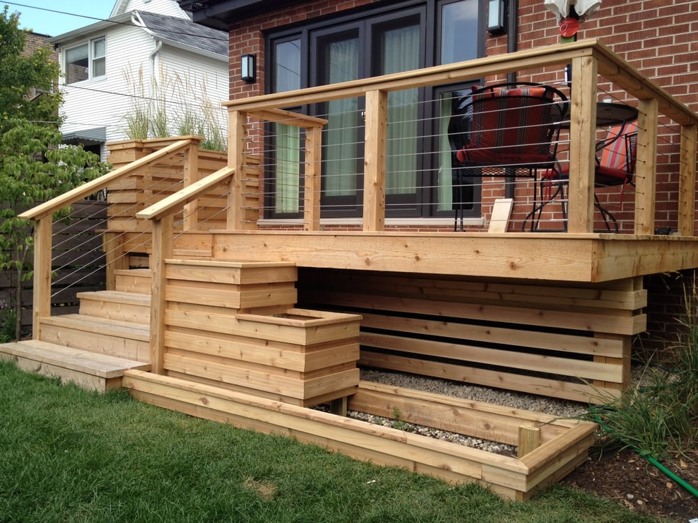 custom cedar deck w cable railings yelp. Black Bedroom Furniture Sets. Home Design Ideas