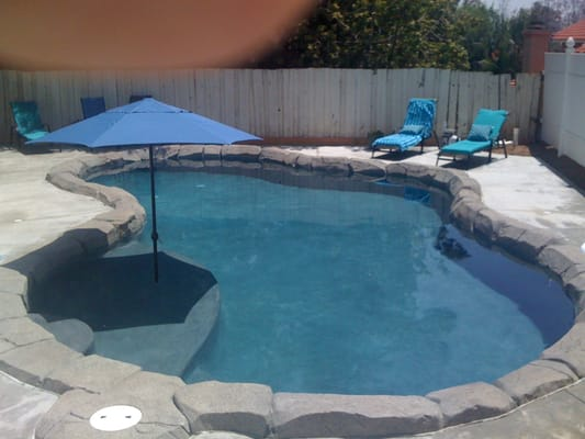 plaster and faux rock coping Makes a nice backyard vacation spot