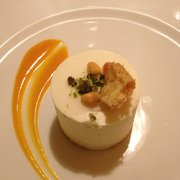 Remarkable desert. Apricot jam. White chocolate cake mousse. Sweet crust on the bottom. A surprise in the middle. :)