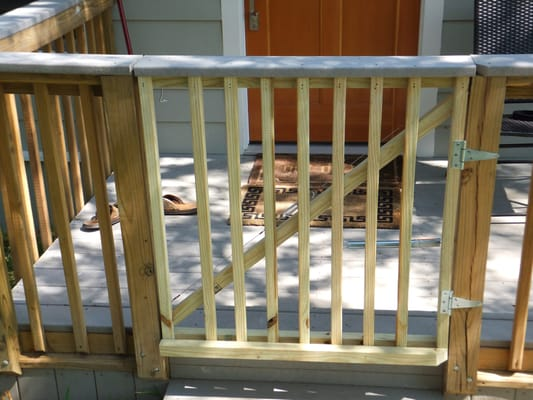 Spring loaded gate added to existing front porch deck yelp for Welborn garage doors austin