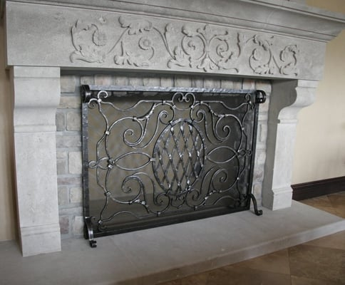 Custom iron and metal works artisan blacksmith for Custom wrought iron fireplace screens