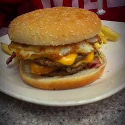 Double bacon cheese burger with egg & hash brown