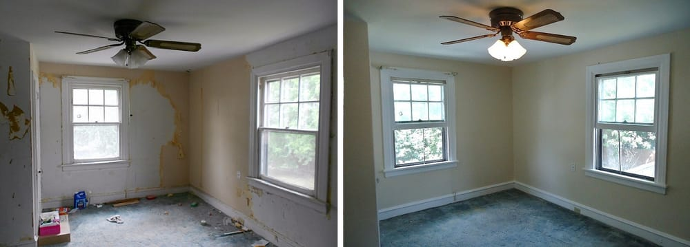Before And After Wallpaper Removal Window Trim Wall And