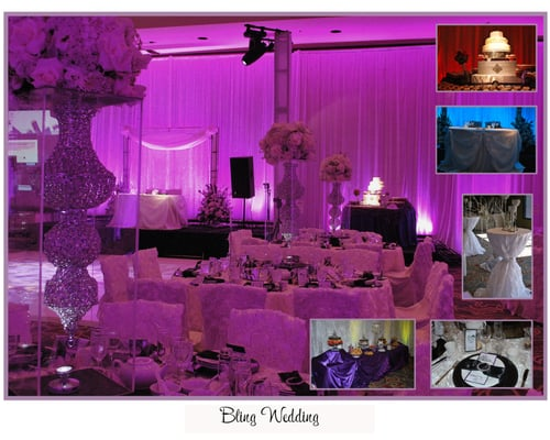 Bling Bling wedding with crystal chandelier centerpieces and
