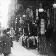 Furs on display in Berwick Street Market, 1929