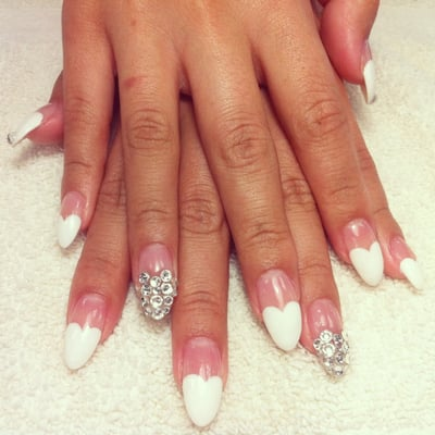 Heart French gel design stiletto nail by Joann | Yelp
