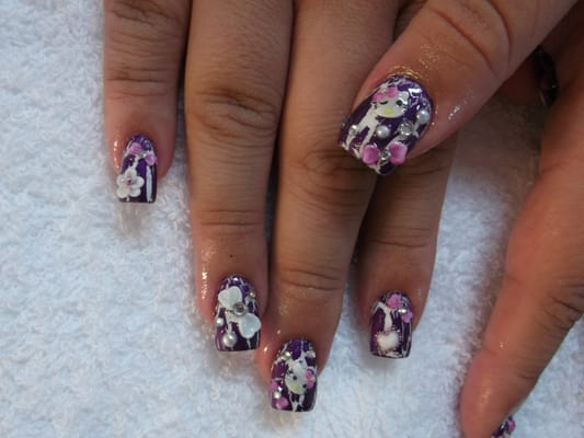 3d nail art on top of purple crackle polish yelp for 3d nail art salon