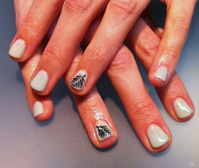 Glitter feather nail art by Karen | Yelp
