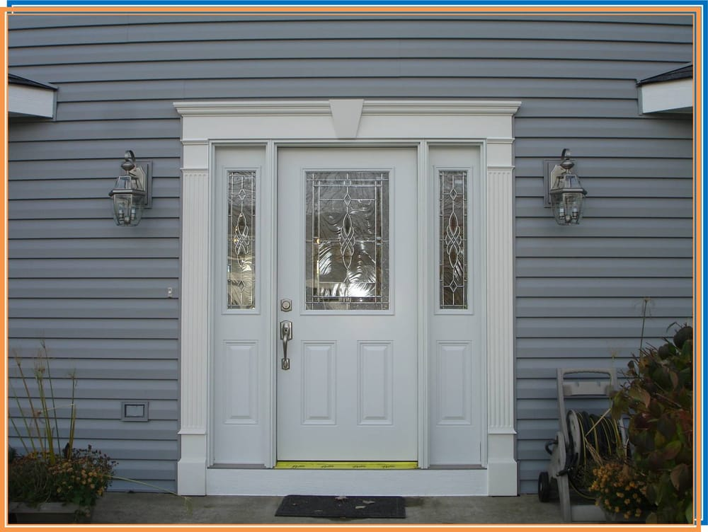 Fiberglass Entry Door With Decorative Glass And Sidelites Yelp