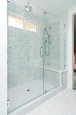 Large walk in shower big enough for two with a full bench for Huge walk in shower