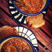 The vegan homemade lentil soup is to die for.