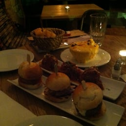 Crab, pulled pork & cabrese sliders+ meatballs + cauliflower au gratin