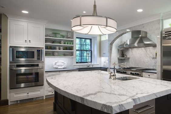 White kitchen cabinets compliment stainless steel appliances  Yelp