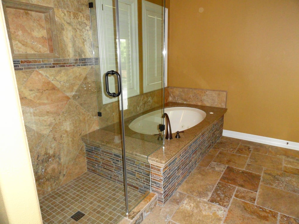 Travertine Tile With Granite Tub Deck Leading Into Shower Seat Yelp