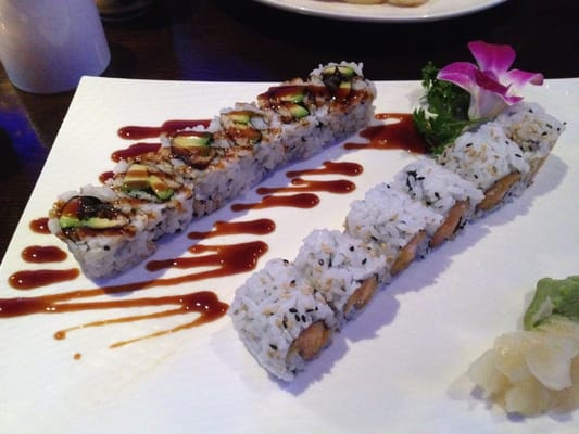 Eel Avocado Roll and Spicy Salmon Crunch Roll | Yelp