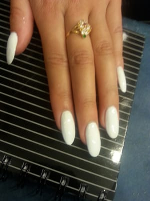 "Extremely elegant! Orly ""White Out"" on Acrylic Nails by Mai 